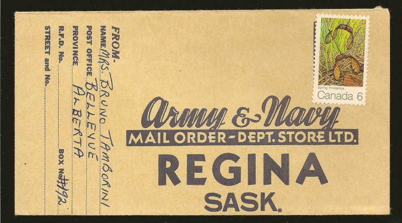 Canada 535 on 1971 Army & Navy Mail Order Regina Sask Advertising Cover