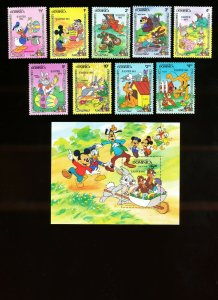DOMINICA - Scott 832-841  VFMNH - DISNEY - EASTER  - 1984