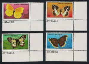 Turkey Butterflies 4v Bottom Corners SG#3014-3017 MI#2833-2836
