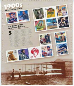 US #3182-3191 1998-2000 CELEBRATE THE CENTURY COMPLETE 10 PANES - MINT NH
