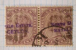 Ceylon 5c QV North Estate Matale overprint pair Provisional? SOTN cancel sc#131