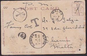 MALTA 1910 1d in circle due on postcard ex USA  Postmans Number 9...........6478