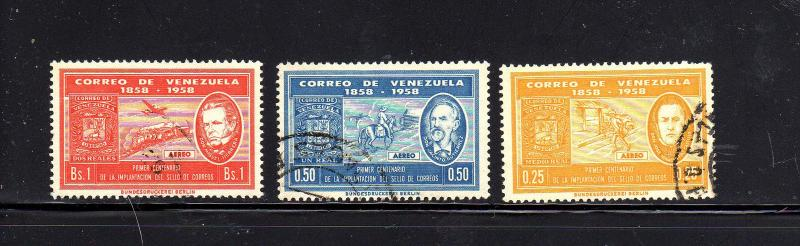 VENEZUELA #C706-C708  1959  STAMP CENENARY    F-VF USED