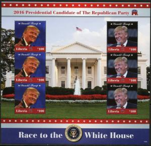 LIBERIA 2016 RACE TO THE WHITE HOUSE DONALD TRUMP SHEET OF SIX   MINT  NH
