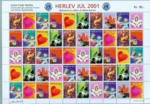 Denmark. Christmas Sheet Mnh 2001. Lions Club. Local Herlev. Santa,Angels,Heart.