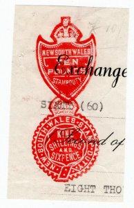 (I.B) Australia - NSW Revenue : Impressed Stamp Duty £10 9/6d