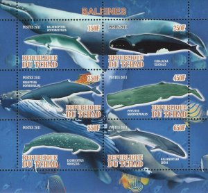 Chad Whales Marine Fauna Beach Ocean Souvenir Sheet of 6 Stamps Mint NH