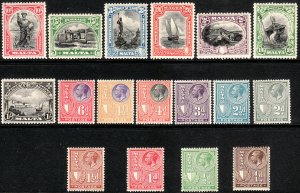 1926 - 1927 Malta KGV King George V era set Wmk 4 MLMH Sc# 131 / 147 CV $202.85