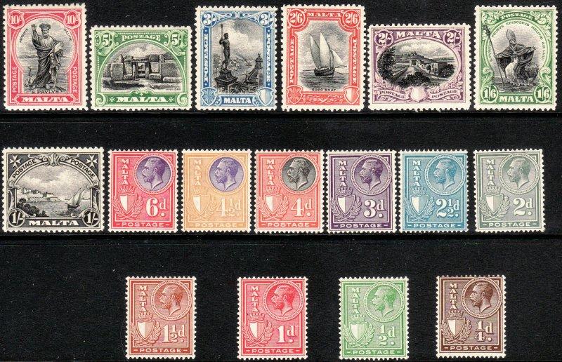 1926 - 1927 Malta KGV King George V era set Wmk 4 MLMH Sc# 131 / 147 CV $202.85