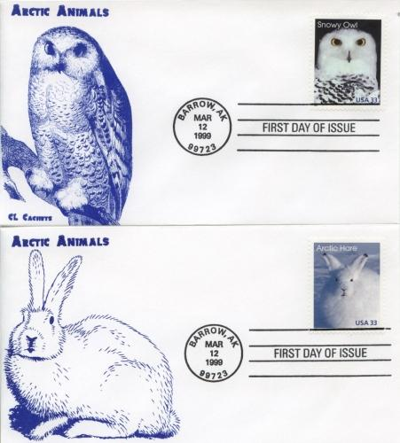 1999 Arctic Animals Set of 5 (Scott 3288-92) CL Cachets FDC