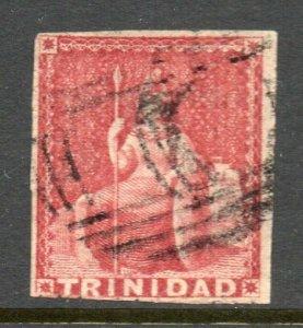 Trinidad 1859 Britannia (1d) carmine-lake pin-perf 12½ SG 32 used CV £50
