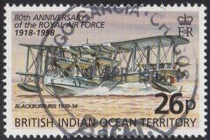 BIOT 1998 used Sc #198 26p Blackburn Iris RAF 80th ann