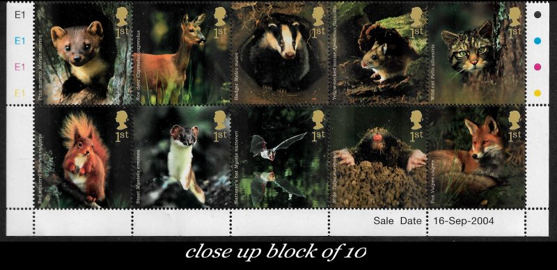 GB Beautiful Woodland Animals from 2004 • Full Sheet of 30 First Class Stamps