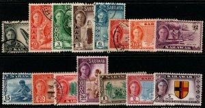 SARAWAK SG171/86(Exc.177) 1950-2 DEFINITIVE SET FINE USED