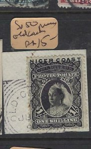 NIGER COAST PROTECTORATE (PP2504B) 1/-  SG 50 OLD CALABAR  RIVER PIECE SON   VFU