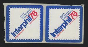 UNITED STATES 2 INTERPHIL 1976 PHILATELIC SHOW SELF ADHESIVE STICKERS - BARNEYS