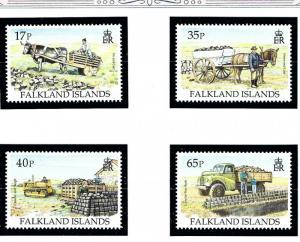 Falkland Is 639-42 MNH 1996 Transporting Peat