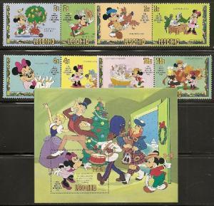 Lesotho 381-9 1982 Disney Christmas set and s.s. NH