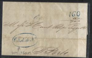 BRAZIL  (PP2701B) 1847  STAMPLESS TO PORTO