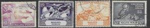Malaysia - Perlis   3-6  1949  set  4  fine used