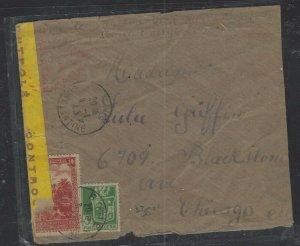 ALGERIA COVER (P1302B)  1945 10F+5F CENSORED COVER TO USA