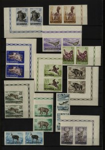 Romania 1956 Fishing Hunting Game birds MNH stamps imperforated pair C/V $120.00