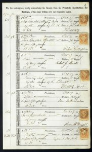 1867 Bank ledger page with R6c Bank Check revenue stamps handstamp cancels L4