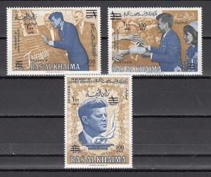 Ras Al Khaima, Mi cat. 80-82 A. President Kennedy issue SURCHARGED. ^