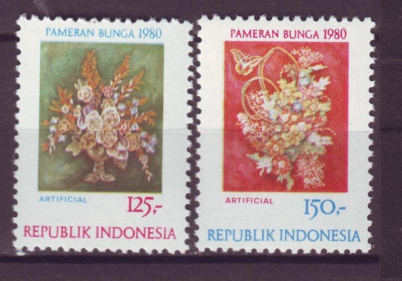 J25062 JLstamps 1980 indonesia set mnh #1074-5 flowers