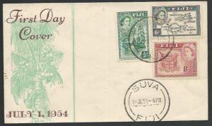 FIJI  1954 QE 3 values on commem FDC.......................................25546