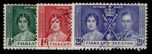 FALKLAND ISLANDS GVI SG143-145, coronation set, FINE USED.