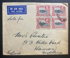 1937 Kenya British KUT Airmail Cover To Harrow England