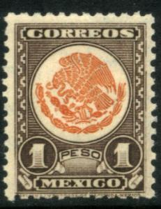 MEXICO 719, $1P COAT OF ARMS 1934 DEFINITIVE MINT NH. VF.