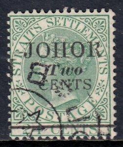 MALAYA (JOHORE) — SCOTT 16 (SG 17) — 1891 2c ON 24c SURCHARGE — USED — SCV $45