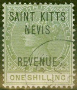 St Kitts & Nevis 1865 1s Olive SGR6 Superb Used
