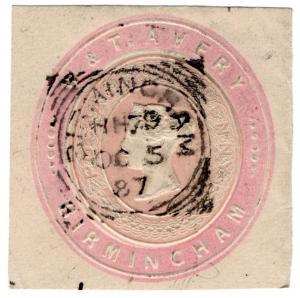 (I.B) QV Postal : Newspaper Wrapper - W&T Avery 1d (Advertising Ring)
