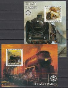 Eritrea, 2002 Cinderella issue. Steam Trains on 2 s/sheets. Rotary Logo.