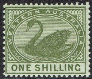 WESTERN AUSTRALIA 1885 SWAN 1/- WMK CROWN CA