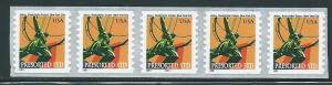 US 3520 2001 Atlas Statue Plate Number Coil strip of 5 MNH