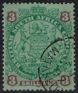 RHODESIA 1896 ARMS 3/- USED