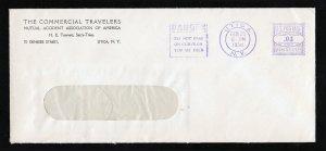 TRAVELERS ADVERTISING/SLOGAN PURPLE METERED ENVELOPE 3C UTICA NY 1938