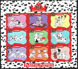 Gambia. 1997. Small sheet 2690-98. 101 Dalmatians, Disney cartoons. MNH.