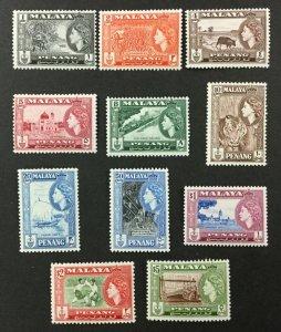 MALAYA-PENANG #45-55, 1957 set of 11, FVF, MNH. CV $65.35. (BJS).