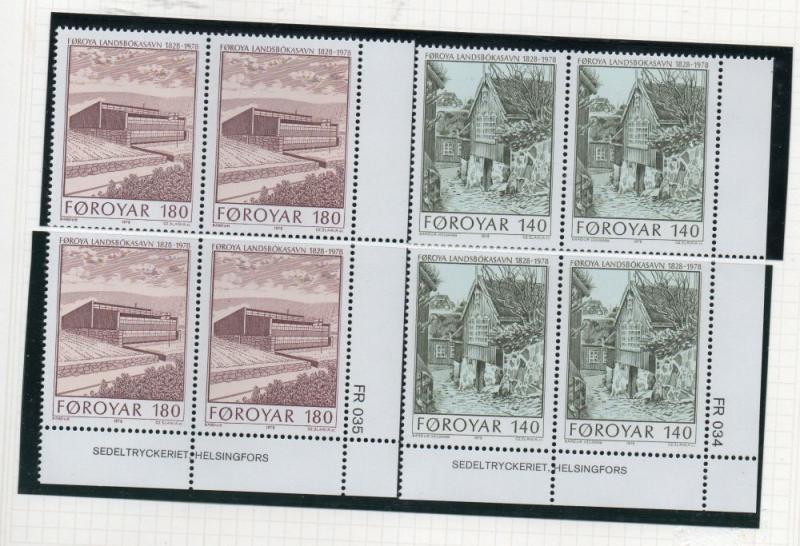 Faroe Islands Sc  39-40 1978 New Library stamp set blocks of 4  mint NH