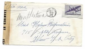 San Juan, Puerto Rico to New York City 1943 Scott C27 Censored, Puerto Rico Seal
