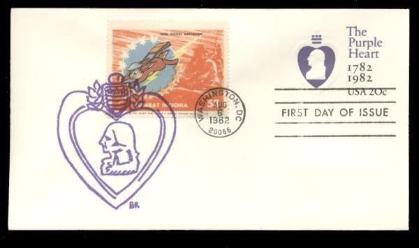 56th Signal Batalion Poster Stamp on Purple Heart #U603 FDC