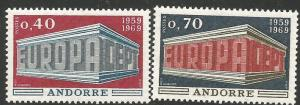 FRENCH ANDORRA 188-189, MNH, PAIR OF STAMPS, EUROPA, COMMON DESIGN, 1969