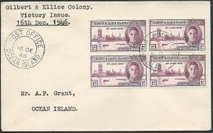 GILBERT & ELLICE 1946 Victory 1d block of 4 on cover......................41360
