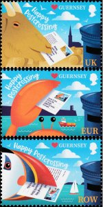 Guernsey 2021 MNH Stamps Postcrossing Animals Goat Bird Crab