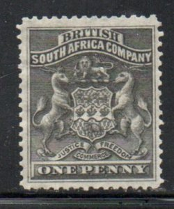 Rhodesia Sc 2 1890 1 d black Coat of Arms stamp mint